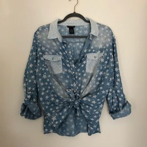 Tops - 3/$12  Chambray Burnout Button Up